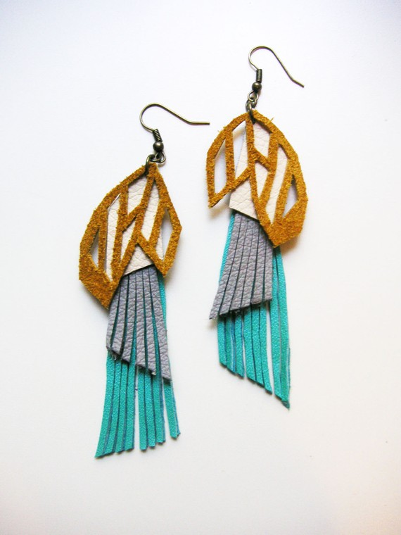 Geometric Prism Leather Earrings