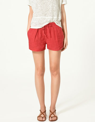Red Linen Shorts